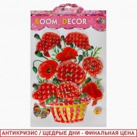 ROOM DECOR HX-011 красные маки в вазе 54*34 см (1шт/уп 360 шт/кор)