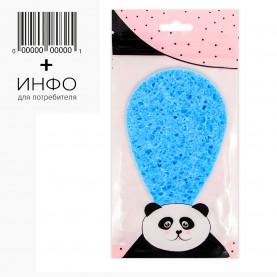 SPN28 губка ZIPпанда+стикер шк губка для умывания и снятия макияжа пирамидальный овал 10 см*7см 3гр.(0,8 толщ) (10шт/уп)
