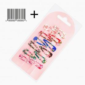 HCL300 + стикер шк ЗАЖИМЫ КЛИК-КЛАК для волос в ОРР на БЛИСТЕРЕ 12 шт, 3*1см цветы МИКС цена за блистер 7гр (12 блистеров/уп)