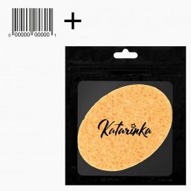 SPN05 zipKatarinka+стикер шк губка для умывания и снятия макияжа овал 11см х 7,5 см 5гр.(10 шт/уп zip 17*25 2500/кор)