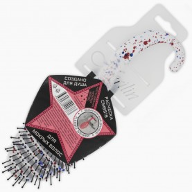 CMB519В подвес + флексибл с аннотацией абстракц 2 цвета щетка расческа спец для мокрых волос +крючок-подвес 22,5*3*7/ 60 гр. (4шт/уп кор/24шт)