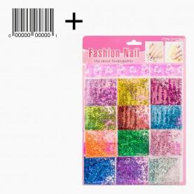 DN30 со ШК МИКС глиттеры для ногтей на листе 25х18см. 12 пакетов МИКС-сердечки, соломка, блестки и пр (12 шт/уп 800 шт/кор) цена 1 пакетик