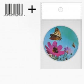 MIR_204 ОРР+стикер шк зеркало 2ое с увеличением складное карманное КРУГ 7,5см рисунок БАБОЧКИ 38 гр.(12 шт/уп 480/кор)