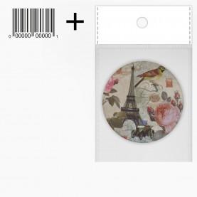 MIR_210 ОРР+стикер шк зеркало 2ое с увеличением складное карманное КРУГ 7,5см рисунок МИКС - ЭЙФЕЛЕВА БАШНЯ ПАРИЖ 37 гр.(12 шт/уп 480/кор)