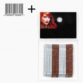 HCL09 OPP 24 шт + ШК этикетка НЕВИДИМКИ разноцвет блеск для волос, длина 5 см МИКС:шоколад*серебро/ ЦЕНА за ОРР(24шт) (1орр/уп)