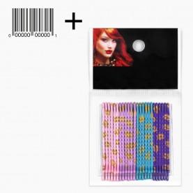 HCL10 OPP 24 шт + ШК этикетка НЕВИДИМКИ разноцвет блеск для волос, длина 5 см МИКС 4 цвета: роз,фиолет, бирюз/ ЦЕНА за ОРР(24шт) (1орр/уп)