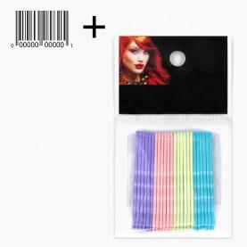 HCL13 OPP 24 шт + ШК этикетка НЕВИДИМКИ разноцвет блеск для волос, длина 5 см МИКС:син*неон*роз*оранж/ ЦЕНА за ОРР(24шт) (1орр/уп)