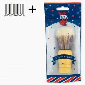 SHBR01 ZIP/син-красн/ Shave bro + шк кисть для нанесения на лицо деревян ручка 9,5*3,5 см 23гр. (12 шт/уп 600/кор)