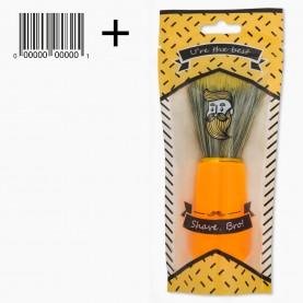 SHBR05 ZIP/крафт черточки/+шк кисть для нанесения на лицо цветн железн обод пластик ручка 11 см 40 гр. ( 6 шт/уп 600/кор)