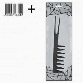 CMB413 ZIP/абстракц/+шк расческа (689) с острой 2ой вилка- ручкой, ПРОФИ зубцы изогнуты утолщ скошен дл 18,5*3,8 см 11 гр.(уп/20 шт кор/1200шт)