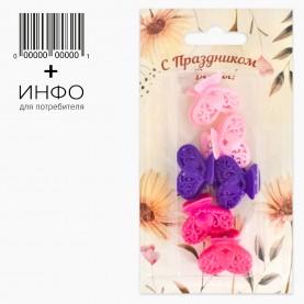 """Набор HP200-6 тема """"Весна"""" заколка-крабик МИКС из 6 шт + открытка (6 наб/уп)"""