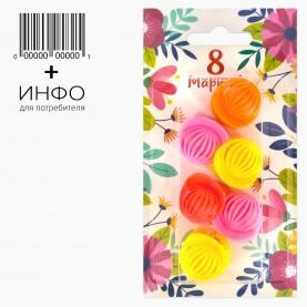 "Набор HP202-6 тема ""Весна"" заколка-крабик разноцветный МИКС 6 шт + открытка (6 наб/уп)"