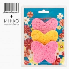 """Набор тема """"Весна"""" 3 шт спонжа в подарочной упаковке + открытка 15 гр. (6 наб/уп)"""